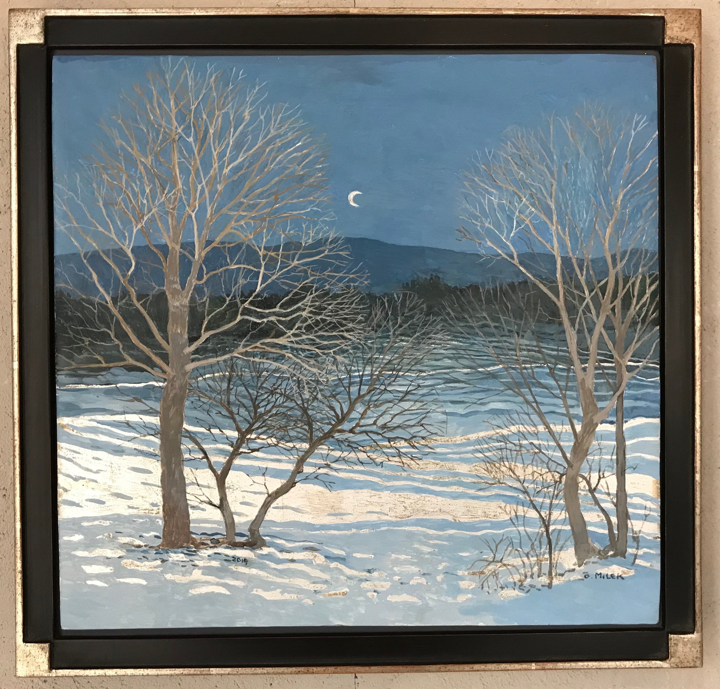 Winter Night Crescent Moon - Egg Tempera & White Gold 12.15 x 13.5""