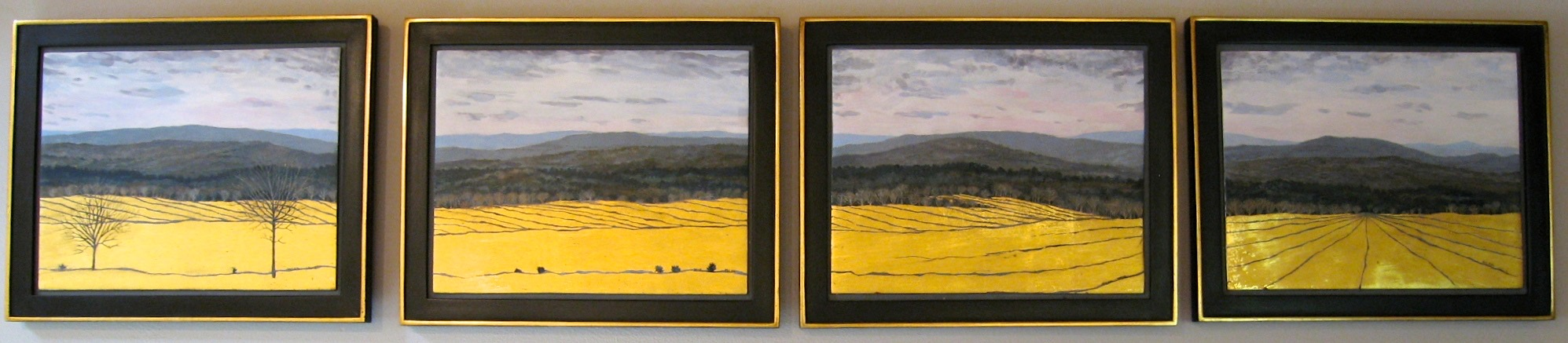 "Four Panel Panorama   Egg Tempera & Gold Leaf 11""x13"" each"