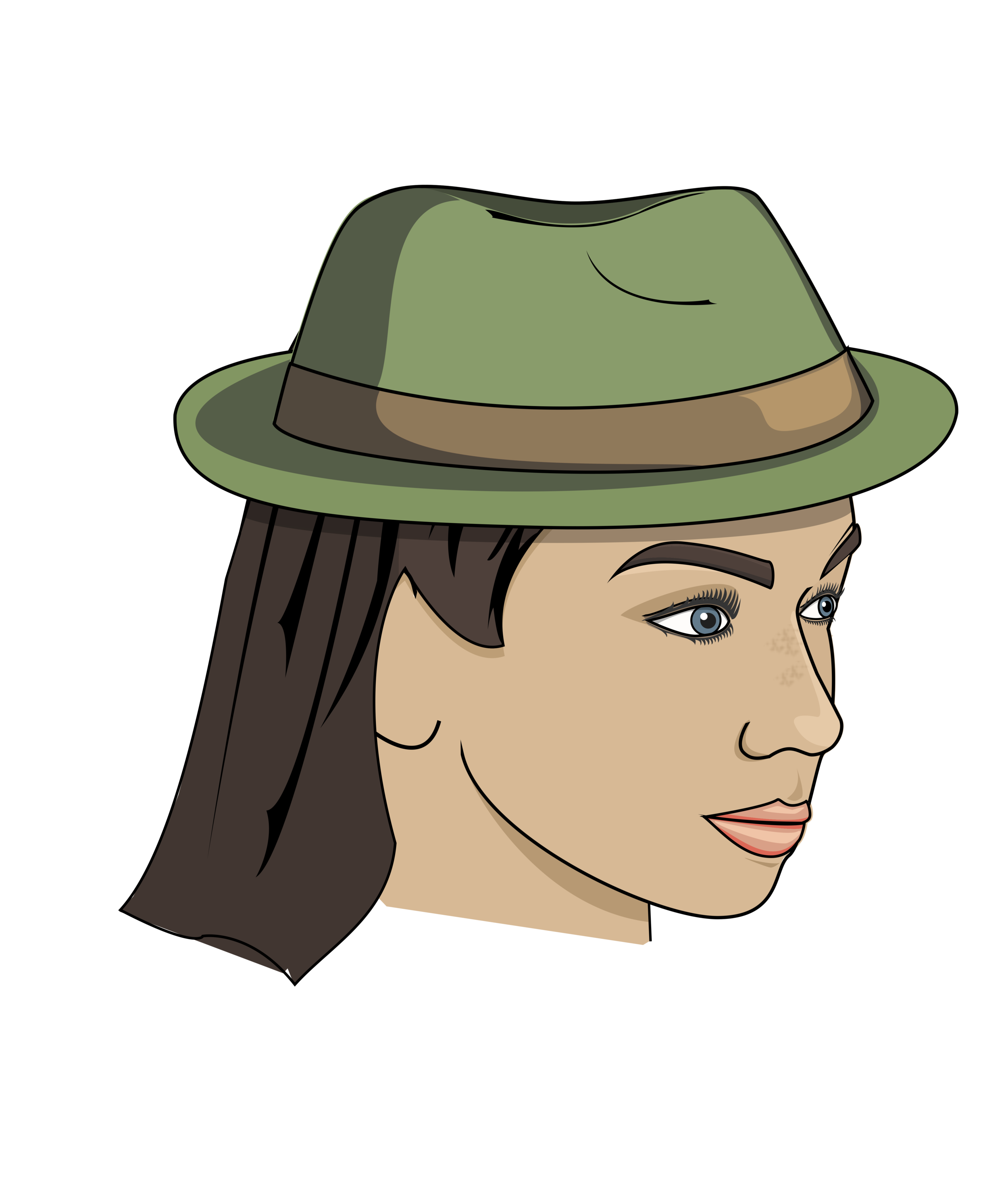 Example of woman wearing hat traditional style