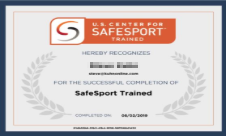 US Center for SafeSport  Duration: 3 modules x ~30 minutes  Certification: Annual Code: YC3E-6P5G-YYIL-CS2M