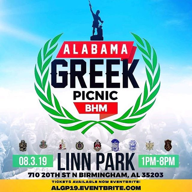 The BIGGEST Greek event in the state of ALABAMA is ready for year ✌🏾 4 DAYS ⚫️9 EVENTS ⚫️9 of the HOTTEST DJS⚫️ Nightlife for ALL VIBES⚫️ 3 Official ALGP Hosts⚫️ Food & Apparel Vendors ⚫️Live Performances  Alabama Greek Picnic is OPEN to EVERYONE. We are sure to have an event for YOU! ✅Meet & Greet ✅Block Party ✅Pool Party ✅Silent Headphone Party ✅Community Service ✅Alabama Greek Picnic ✅Official ALGP After Party ✅Worship ✅Brunch/Comedy Show/Day Party  #AlabamaGreekPicnic #ALGP19 #alphaphialpha #alphakappalpha #kappaalphapsi #omegapsiphi #deltasigmatheta #phibetasigma#zetaphibeta #sigmagammarho #iotaphitheta #nongreeks #MeetandGreet #BlockParty #PoolParty #SilentHeadPhoneParty #CommunityService #GreekPicnic #GreekPicnicWeekend #AfterParty #Church #Worship #Brunch #ComedyShow #DayParty