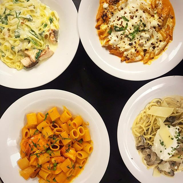 A few of our pasta specialities on our daily menu! Rigatoni e Gamberi, Pasta al Salmone, Penne Fornetto, Truffled Linguine.🍝🔥