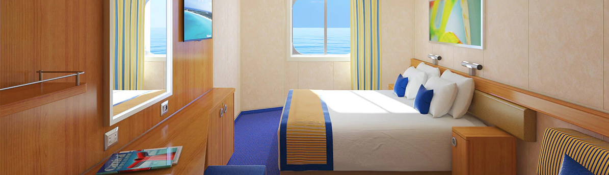 OCEANVIEW - These comfy rooms with a view let you sail along to beautiful destinations while gazing at the sort of vistas you simply won't find anywhere on land.
