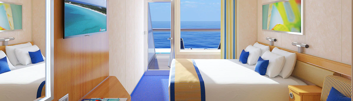 AFT EXTENDED BALCONY - Any time you're in your room, you're steps away from your own personal outdoor oasis… designed for maximum sea breeze and the most stunning views.
