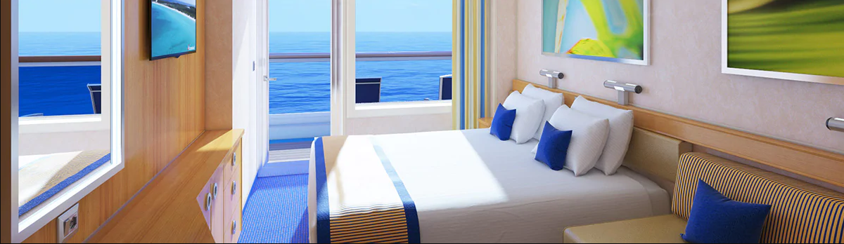SUITE - Get all the comforts of home and then some, with absolutely none of the hassles. Since your suite gives you VIP status, you're the priority when it comes to getting on and off the ship. Plus, you'll receive a ton of exclusive amenities making this the ultimate way to cruise. Get comfy… stretch out, put your feet up, or just spend time on your balcony — you've got one of our most spacious rooms.
