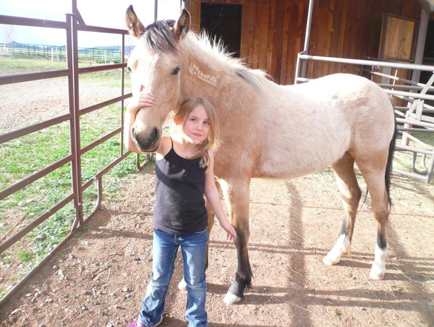 CINCH - Cinch was a 6-month-old Jicarilla gelding who was taken directly from the range to be trained by Delaws Lindsay of D&C Horsemanship. He grew up alongside his adoptive owner's daughter, Annie (pictured), who took him through the Parelli Ground Work process, 4-H jumping, and Gymkana events.