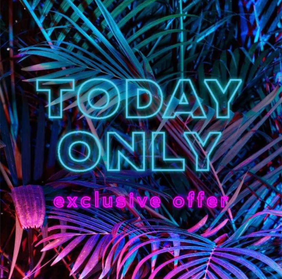 """Today Only Sales - Watch out for these """"Flash Sales"""" on our Facebook and Instagram Pages (digital Today only sales alert)"""