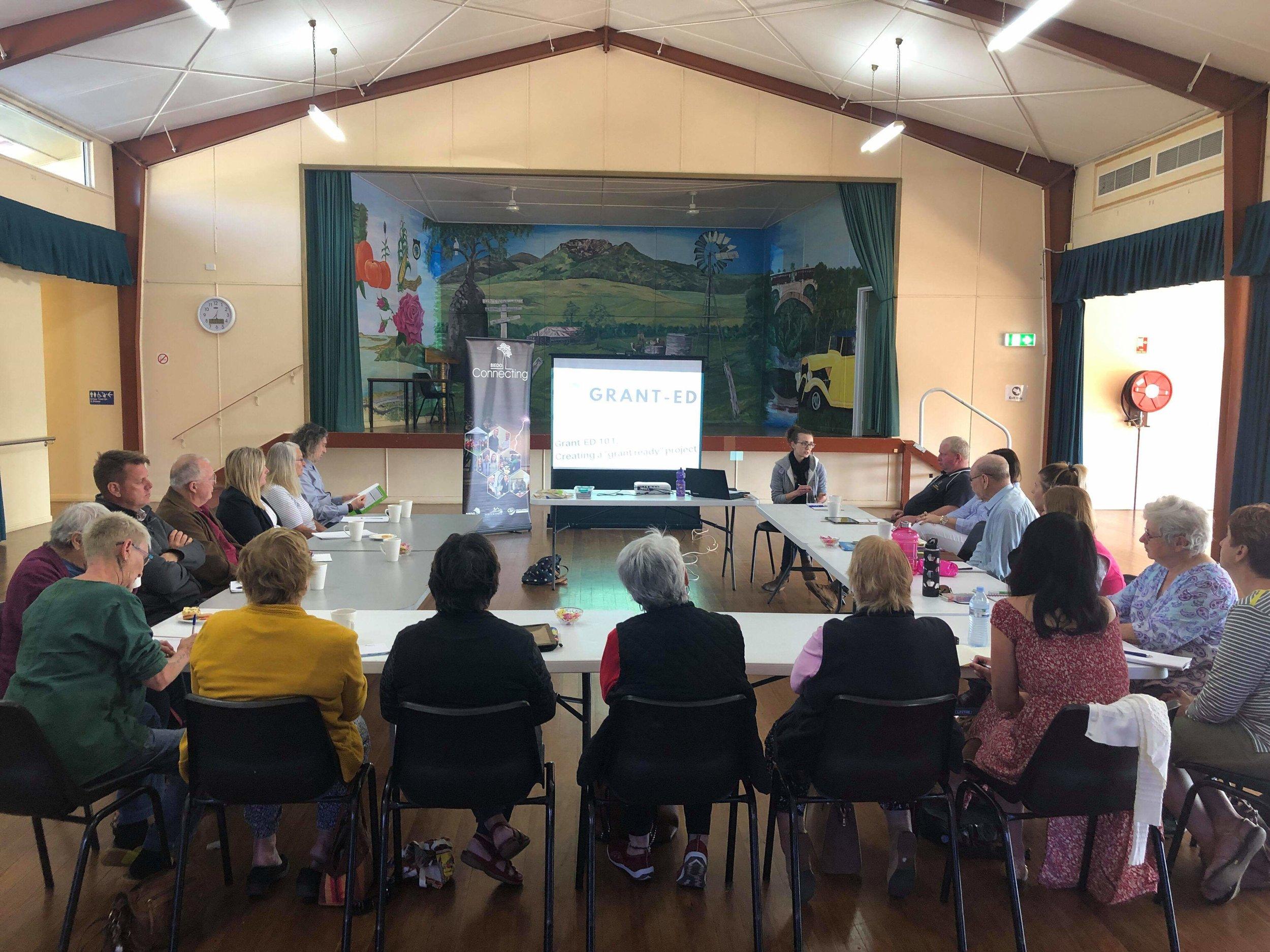 Image: Facilitating the Grant-ED 101 workshop in Biggenden on 31st July. Image courtesy of BIEDO