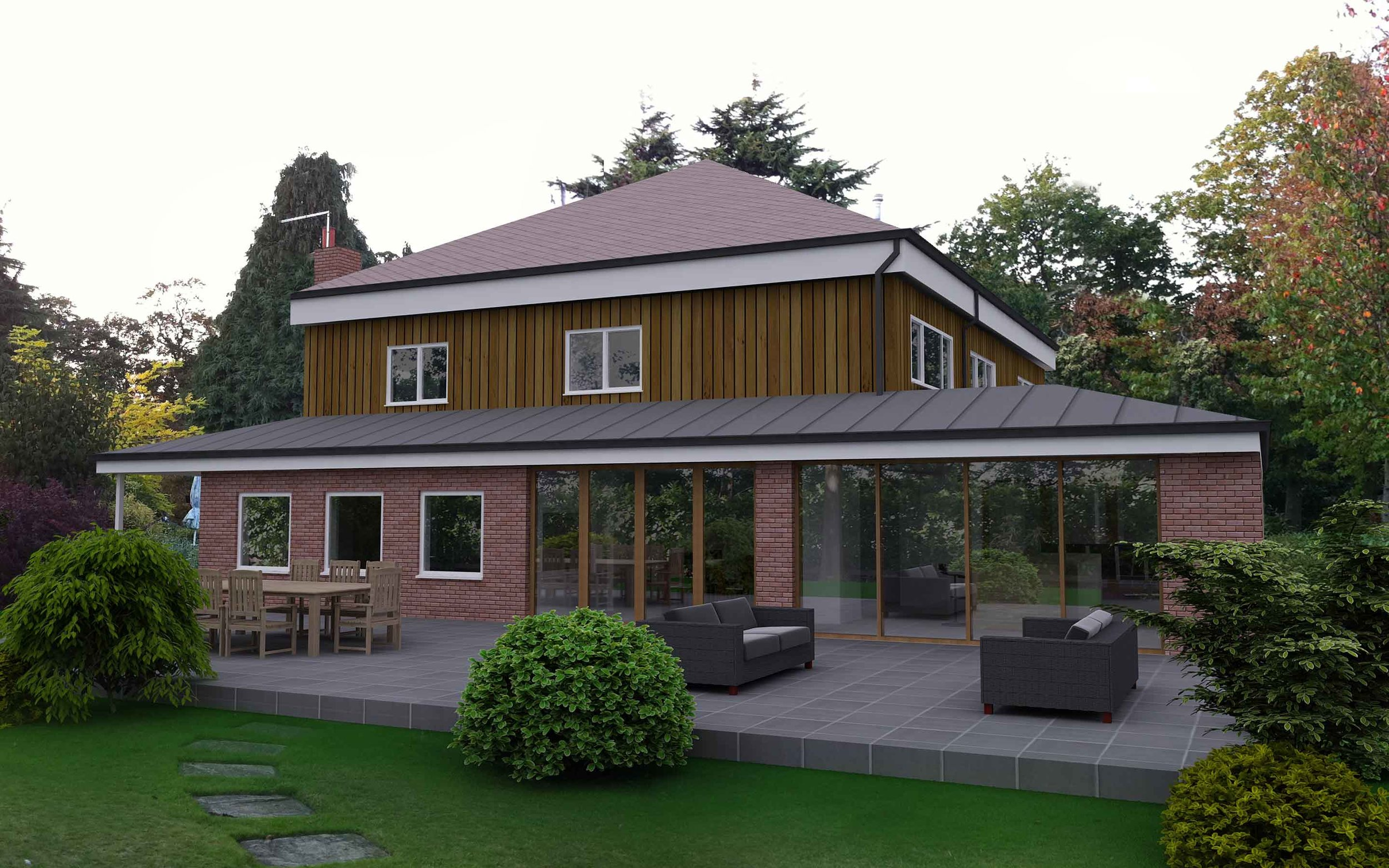 3D render of wrap around extension wakefield