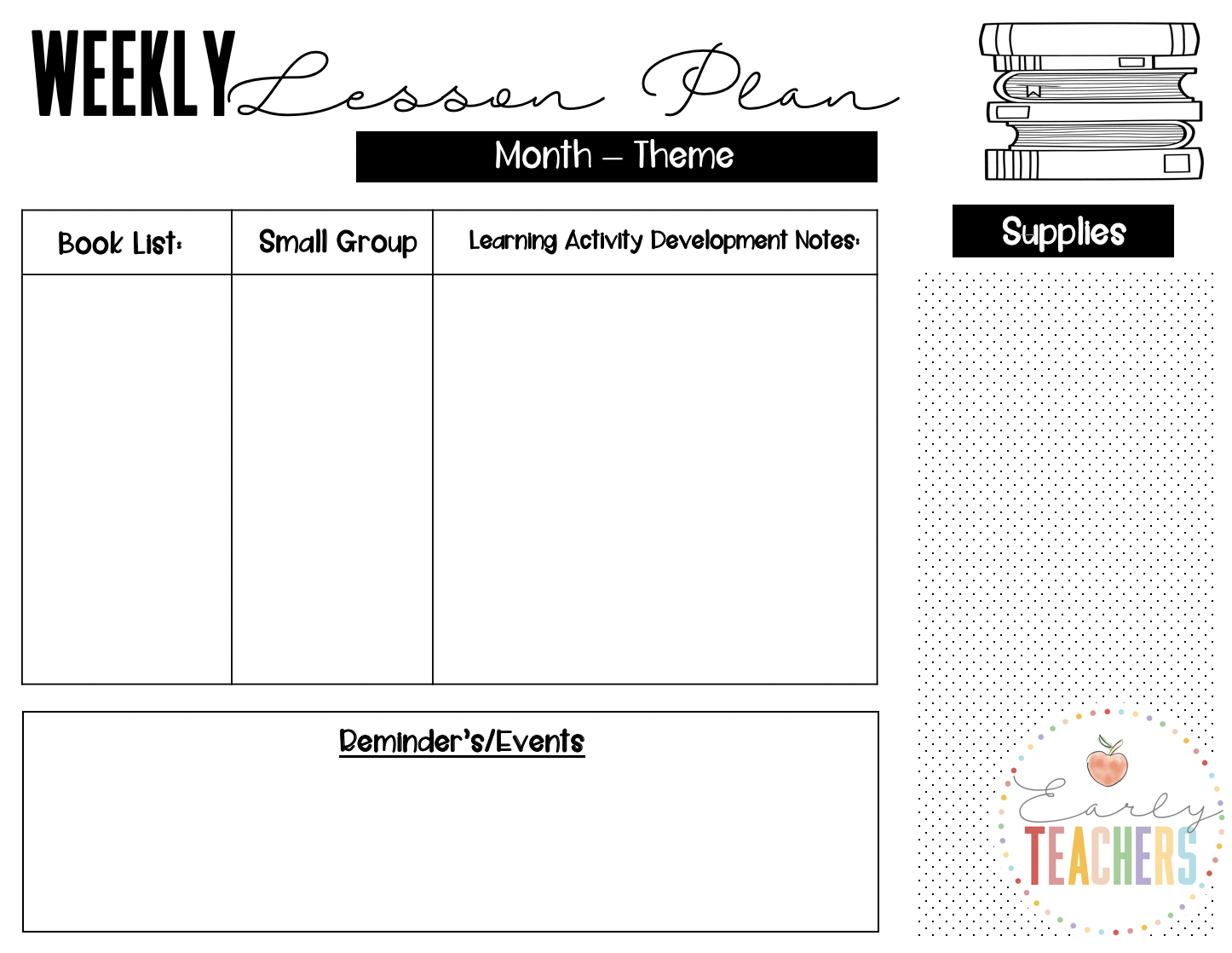 Early Teachers Lesson Plan Template