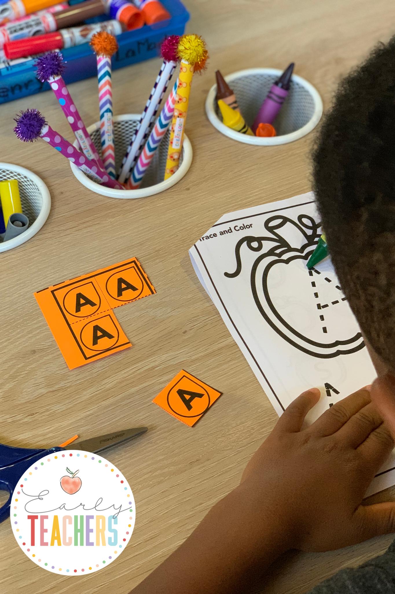 Tracing the alphabet - Pumpkin Alphabet Booklet
