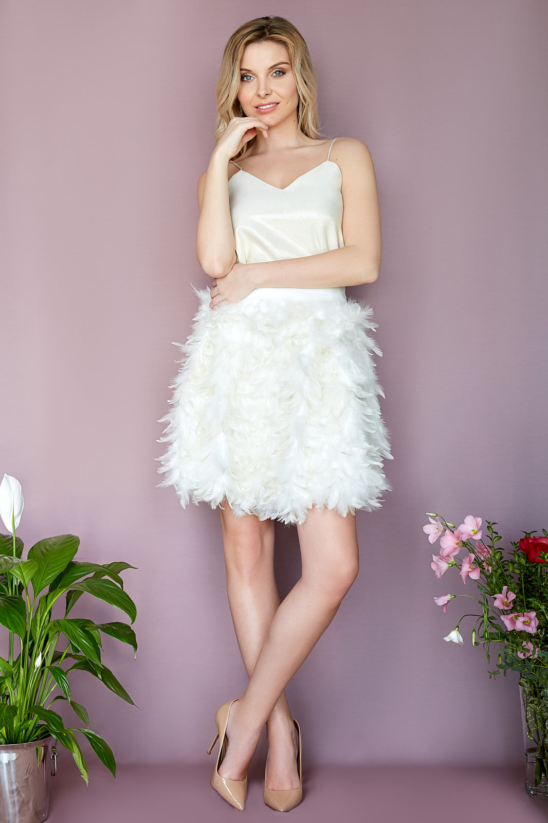 Lurex Cami & MOSCOW Feather Skirt