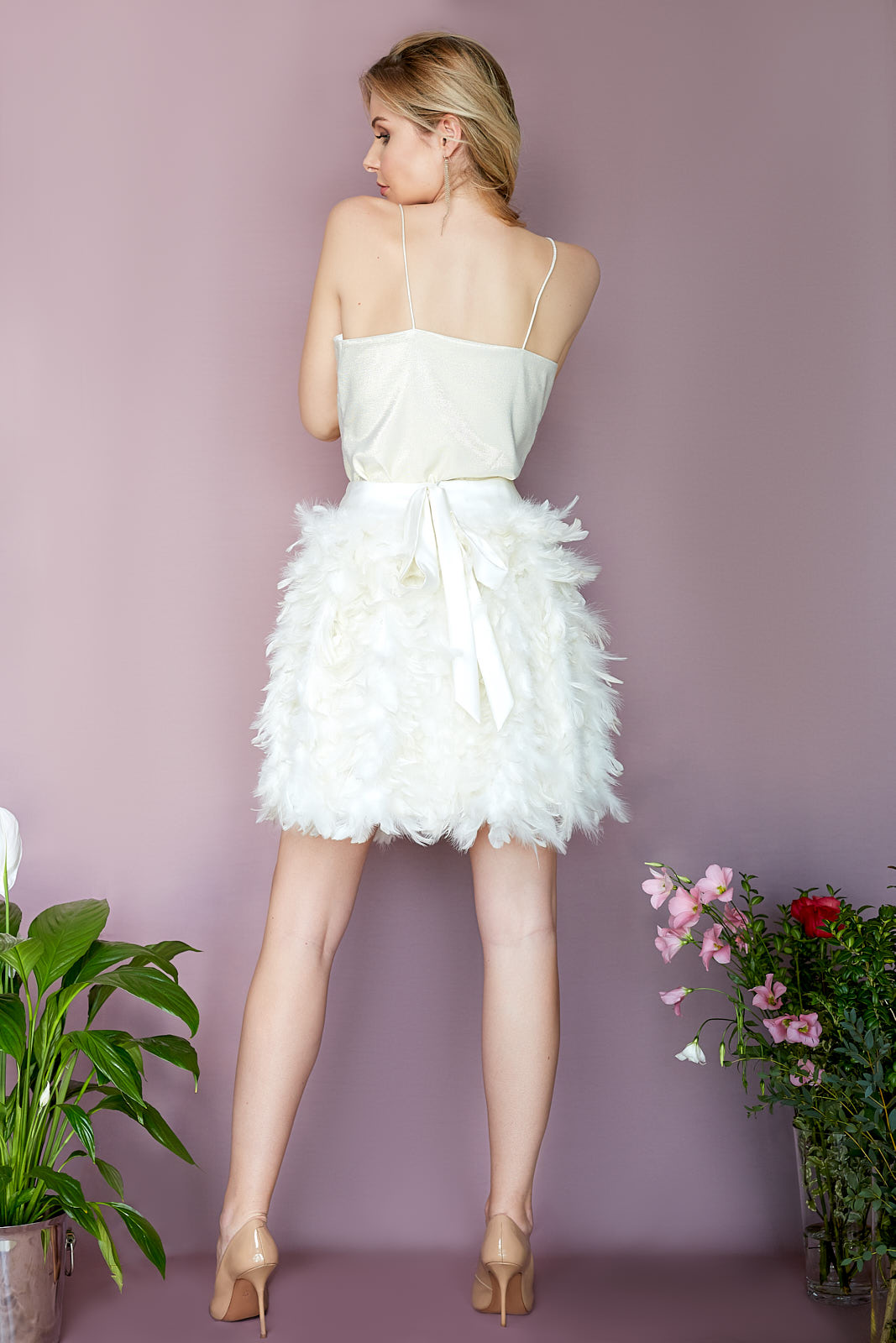 Lurex Cami & MOSCOW Feather Skirt  Lurex Top with Ultra Thin Spaghetti Straps  Real Feather Skirt with Viscose Lining