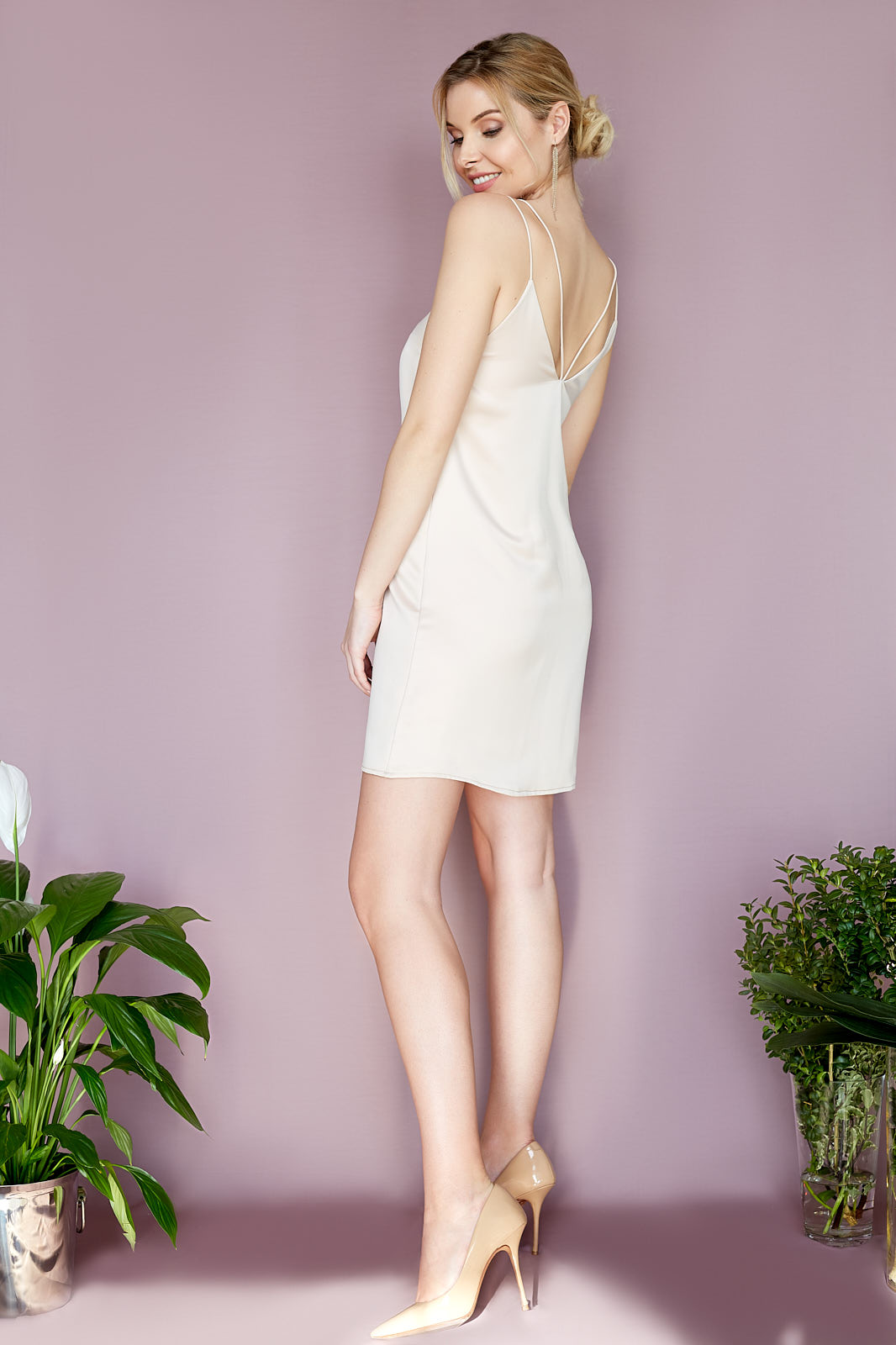 Rose Nude Party Dress  Party Dress in Rose Nude with Double Ultra-Thin Spaghetti Straps