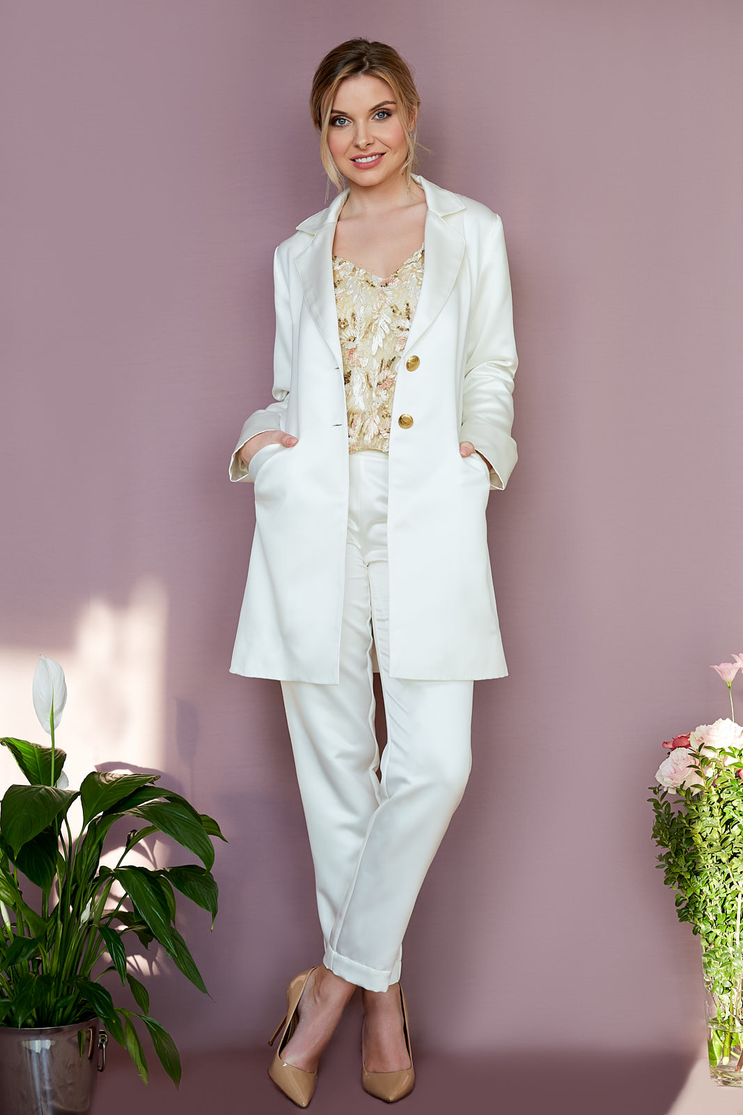 Tux Coat, Sequin Cami, & Pegged Trousers  Tux Coat in Satin Polyester, Vintage Buttons & Surprise Lurex Lining  Sequin Mesh Cami with Silk Charmeuse Lining  Pegged Trousers in Satin Polyester, lined in Sandwashed Satin Silk