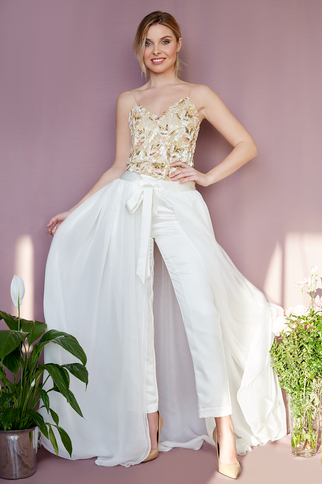 Sequin Cami, Pegged Trousers & Open Overskirt