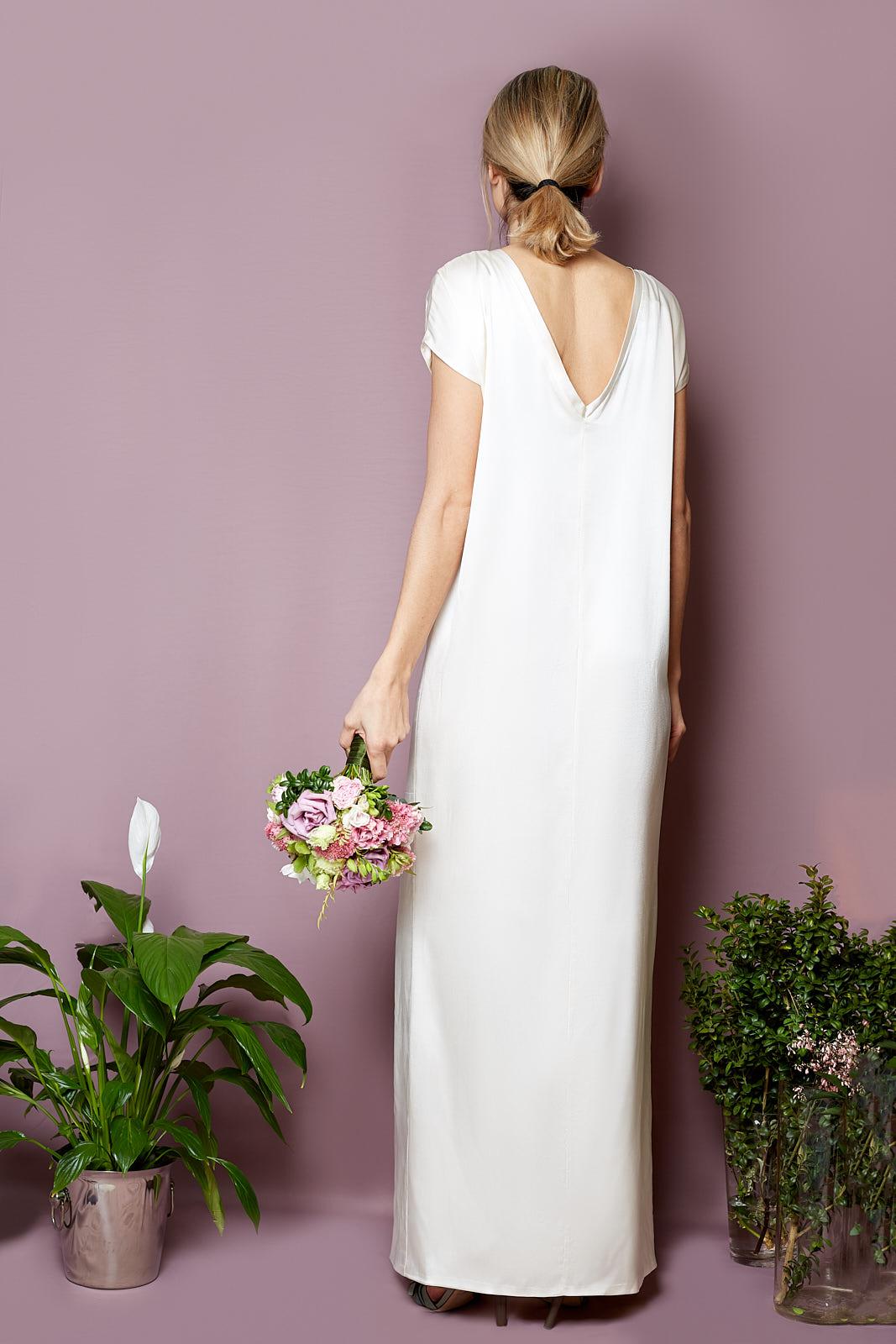 V-Back Bohème Dress  100% Stretch Silk Satin