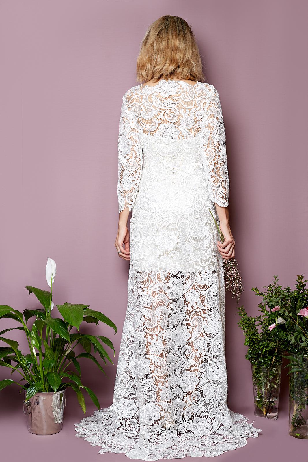 ALASKA Dress Ensemble  Guipure Lace Dress  Bustier 100% Silk Duchesse  Pencil Skirt 100% Silk Duchesse