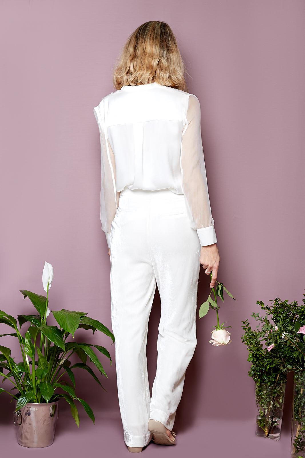 Silk Chemise & Wide Leg Velvet Trousers  Chemise in Sandwashed Silk Satin & Silk Gauze, Vintage Glass Buttons  Wide Leg Trousers in Silk Cotton Velvet, Lined in Sandwashed Silk Satin