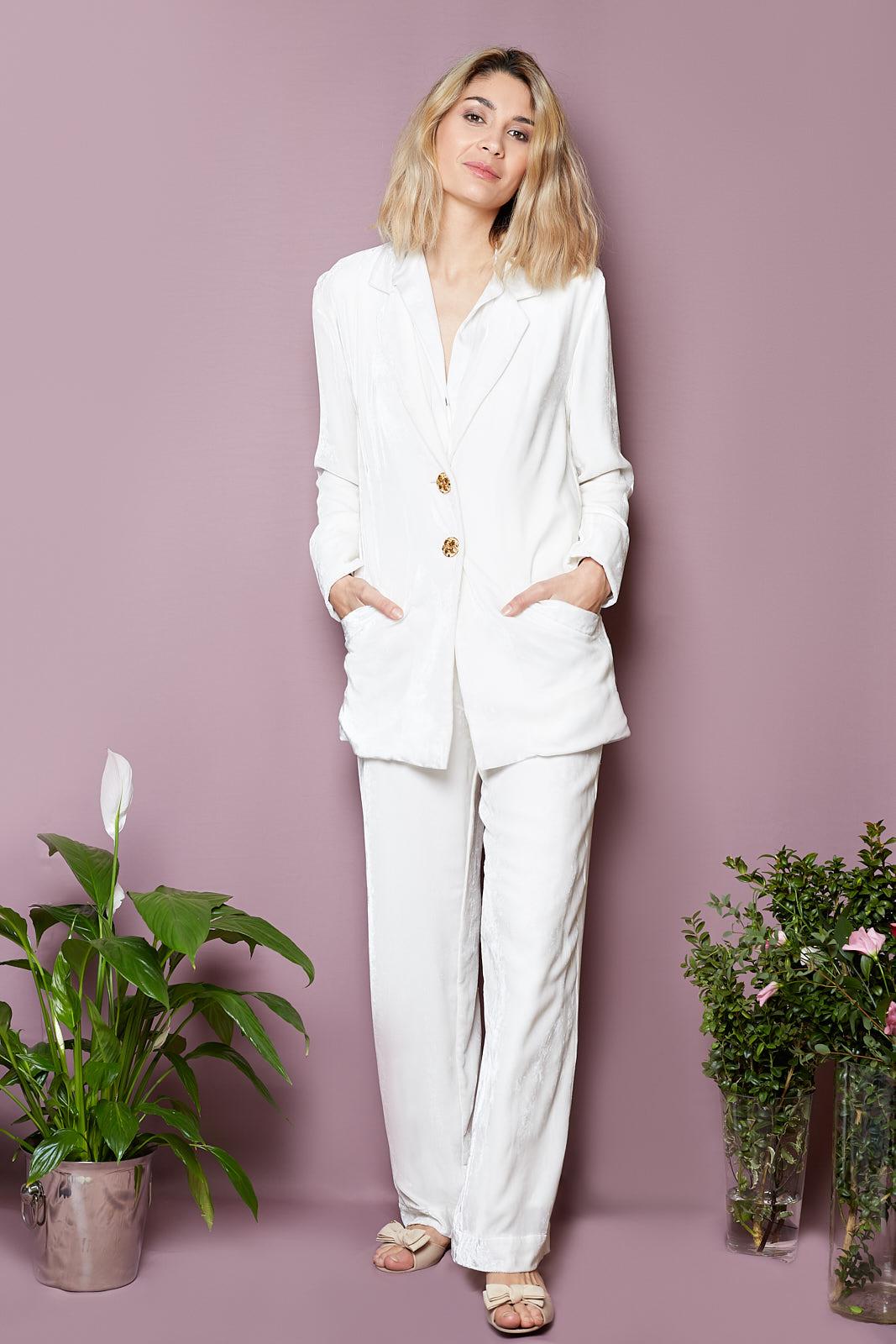 Silk Velvet Blazer & Wide Leg Trousers