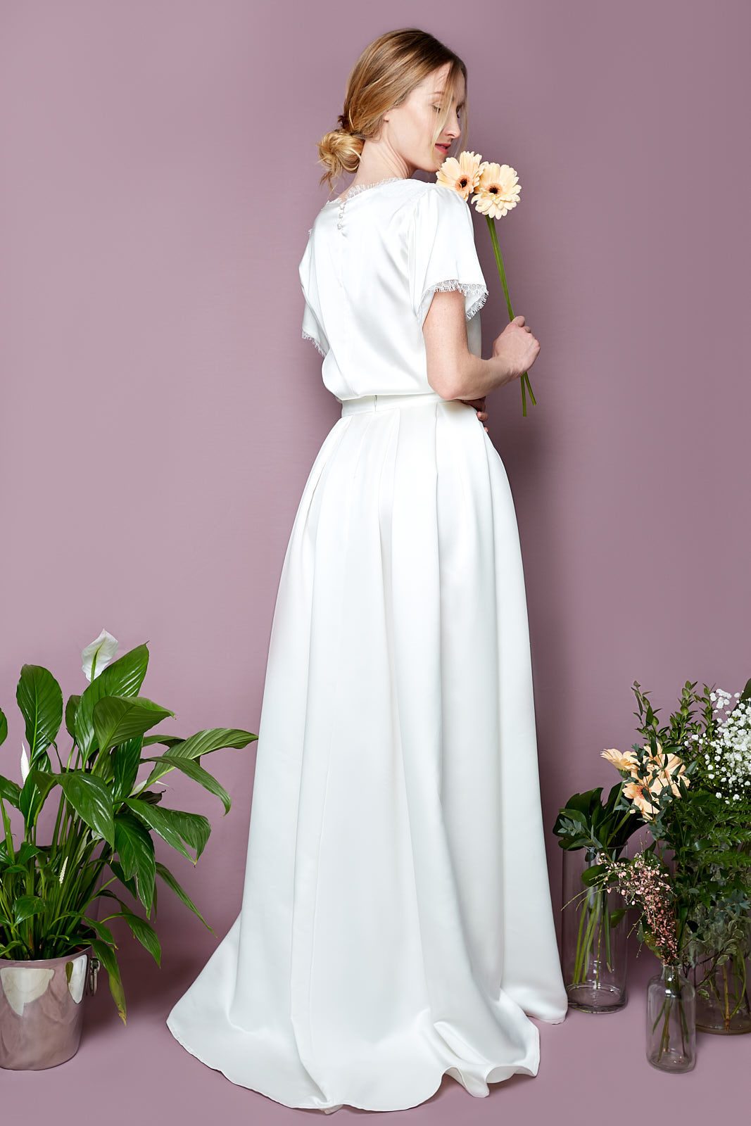 Chantilly Tee & Princess Skirt  Blousy Tee in Stretch Silk Satin and Chantilly Lace, 3 Fresh Water Pearls  Floor-Length Skirt in Silky Polyester