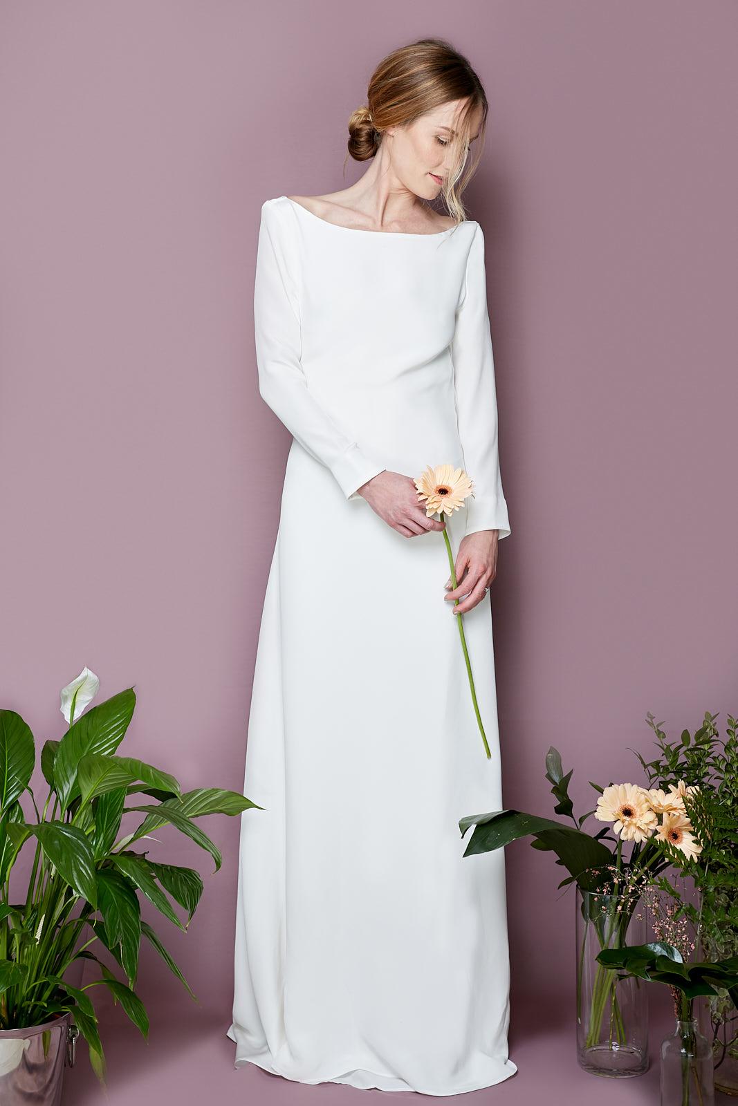 CHELSEA Dress  Crêpe de Chine, Viscose, & 14 Freshwater Pearl Buttons