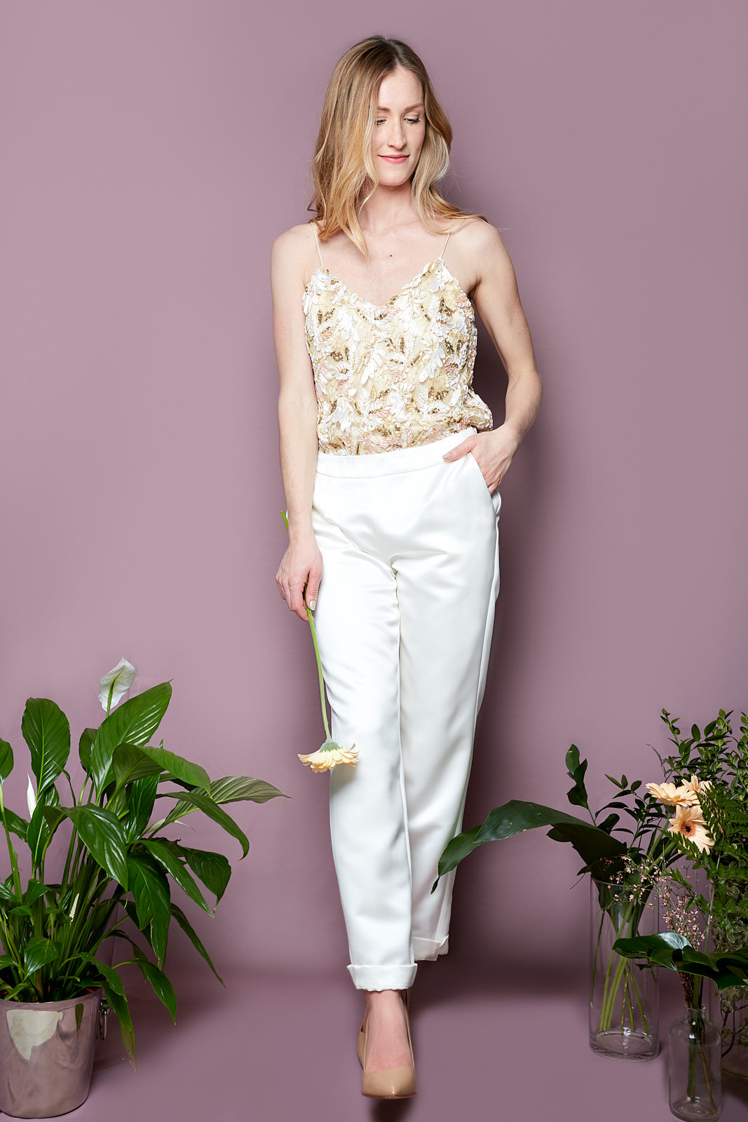 Sequin Cami & Pegged Trousers