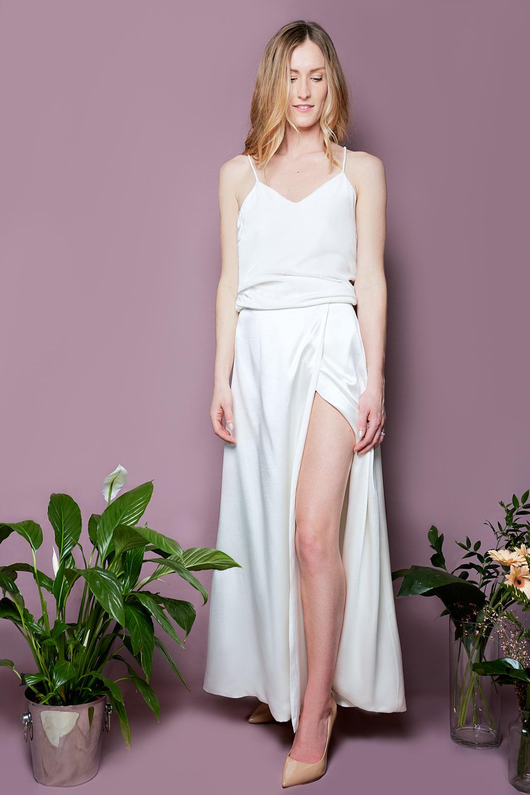 Silk Velvet Cami & Envelope Skirt  Silk Cotton Velvet Top with Spaghetti Straps  Envelope Skirt in Heavy Silk Satin, lined in Sandwashed Silk Satin