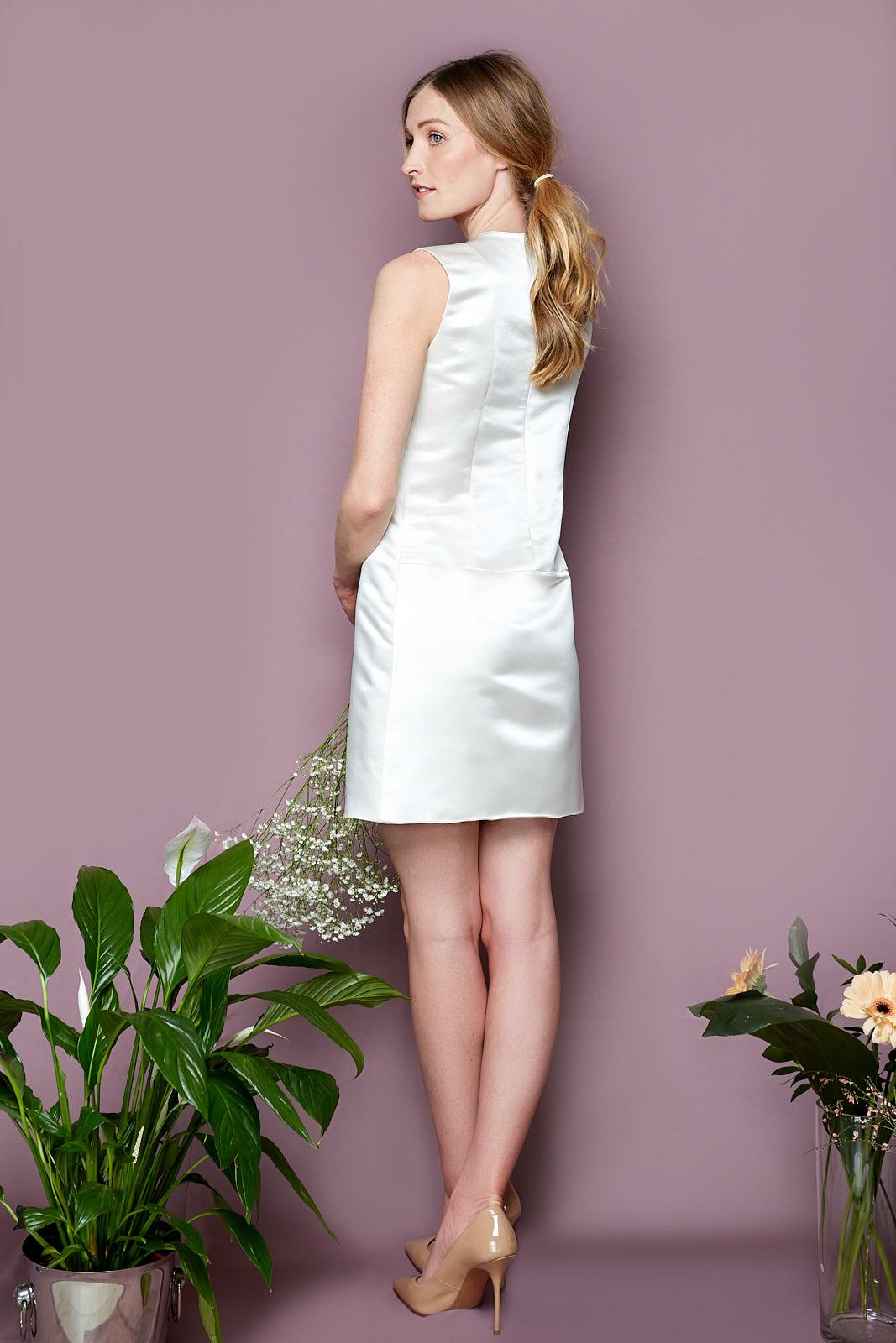 ALBA Dress  60's Inspired Mod Dress in Duchesse Silk, lined in Silky Viscose