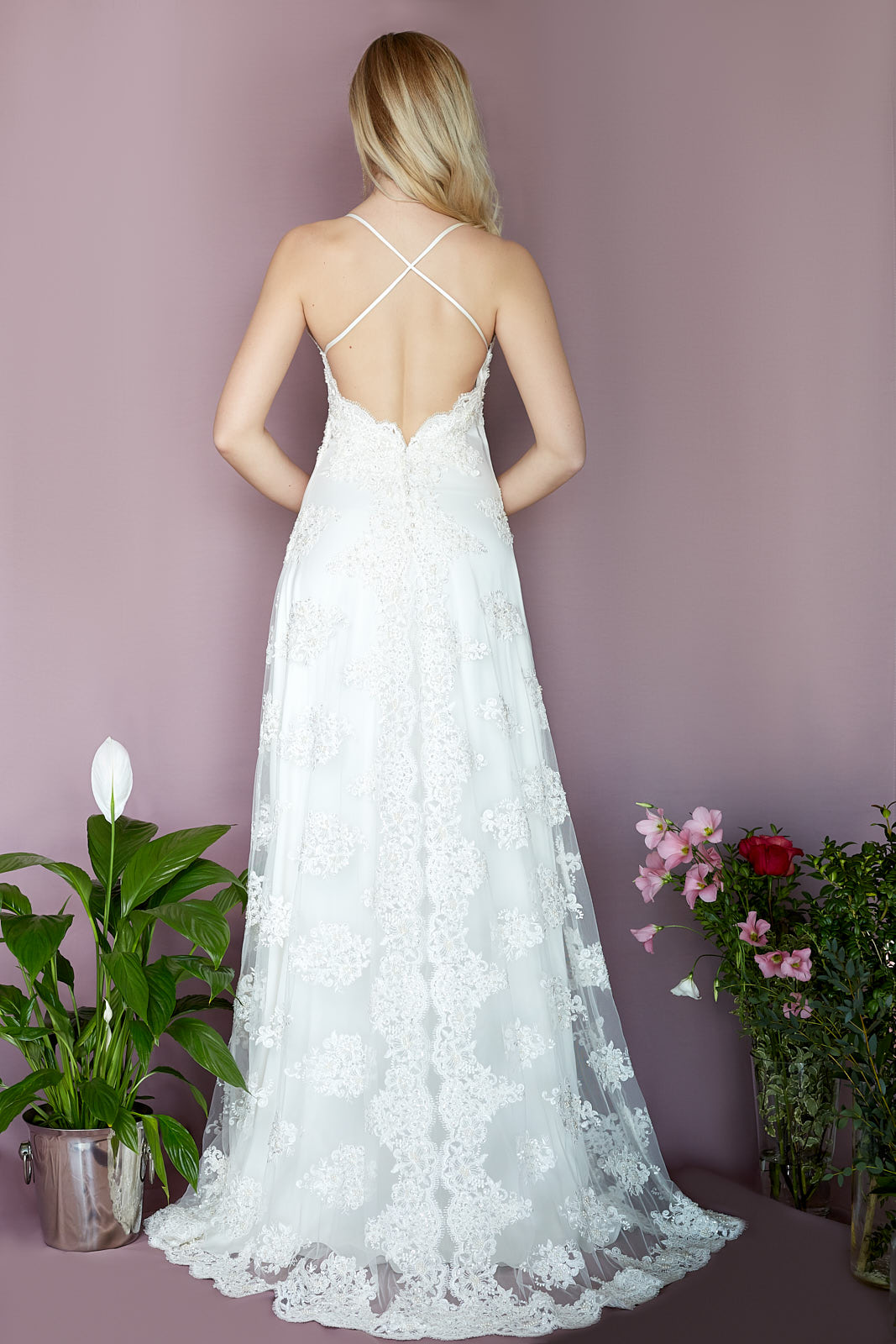 COMO Dress  Sequin & Pearl Embroidered Lace, Sandwashed Silk Satin, Viscose Lining
