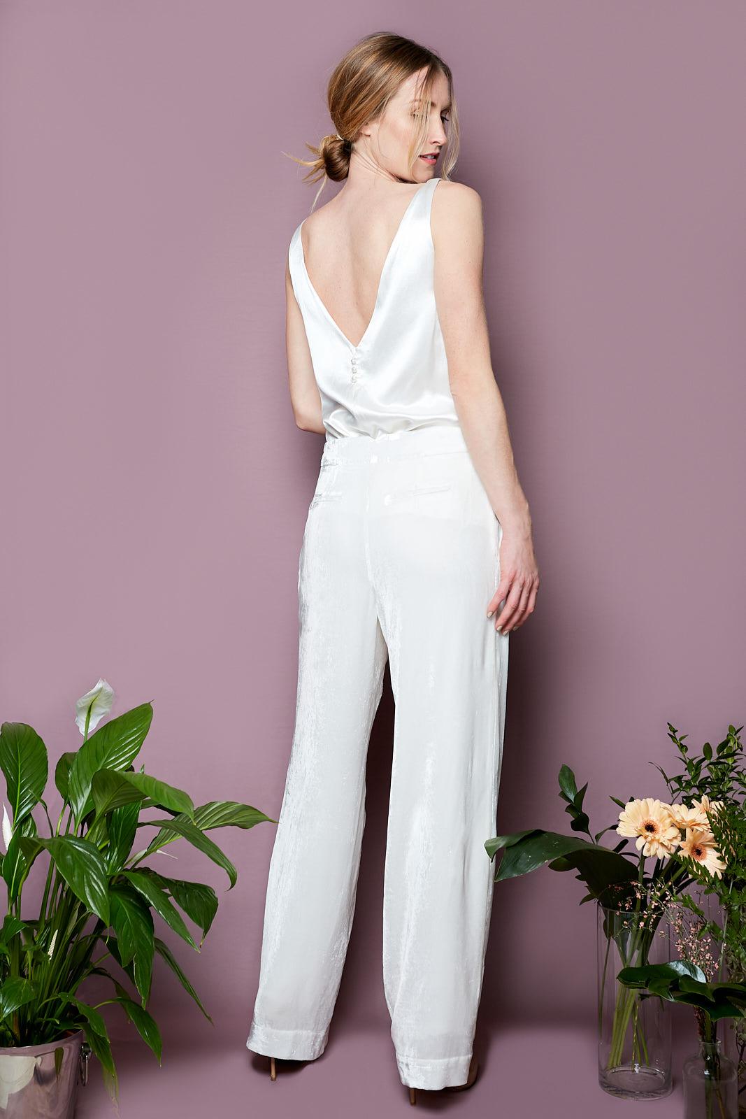 V Cami & Wide Leg Velvet Trousers  Cami Top in Heavy Silk Satin, lined in Sandwashed silk satin  Wide Leg Silk Cotton Velvet Trousers, lined in Sandwashed Silk Satin