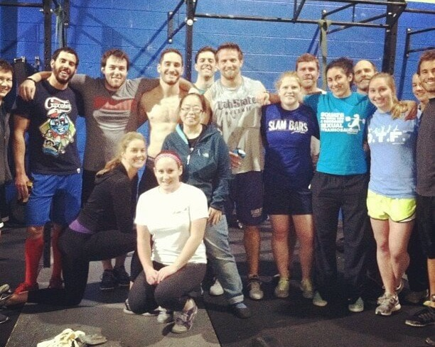 Zach, Dr. Sobolewski, and Becca (back row, center) with other friends from CrossFit Local in 2013