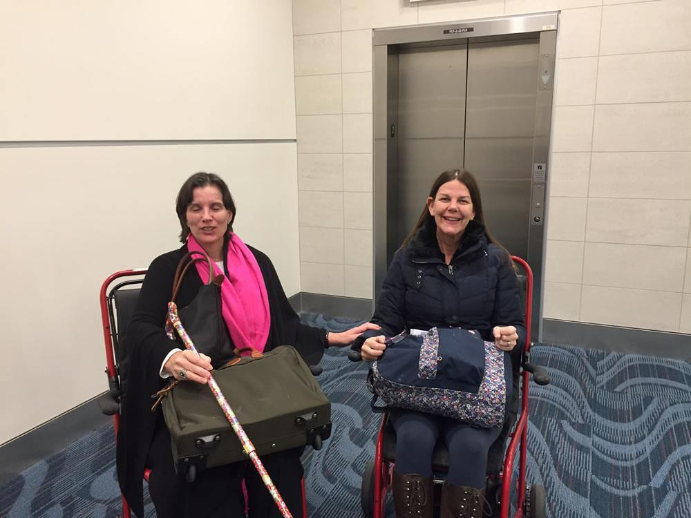 My companion* and dear friend Catherine also has a deeply debilitating disease called EDS so here we are being wheeled through Atlanta airport together.