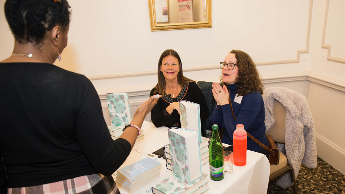 Above: Selling books with Anna Sexton (R) at  Female  Business Owners, Warrington Nov 2018.