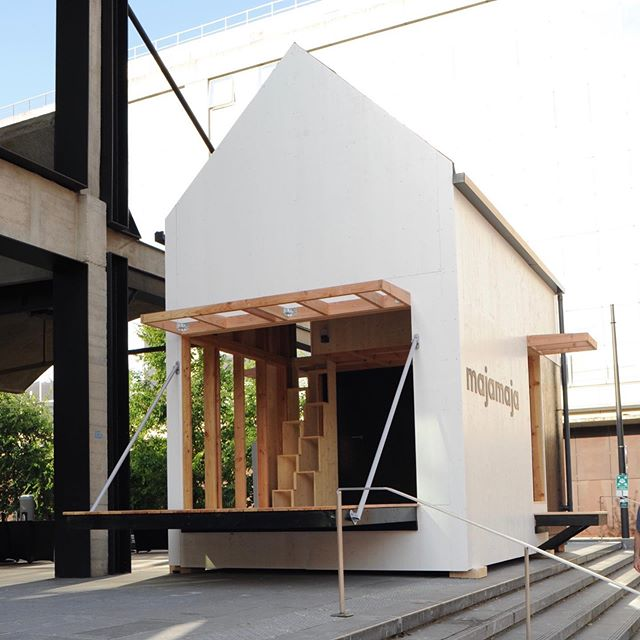 Majamaja demo unit at @joinstationf front yard. On view and open for visits from July 8th to 19th. Dedicated for sustainable land development projects. #offgrid #majamajaliving #woodendesign #greentech #futureofliving