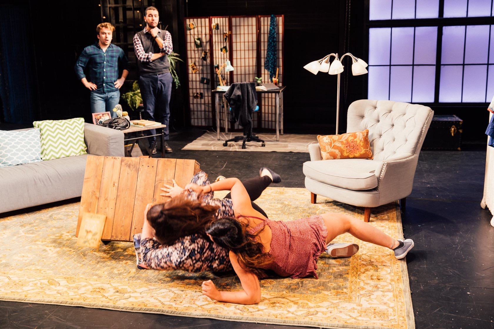 From left: Evan (Cameron Bell), Stanley, Diane (Caroline Parker), and Mirabelle (Cristina D'Anna). Spring 2019.