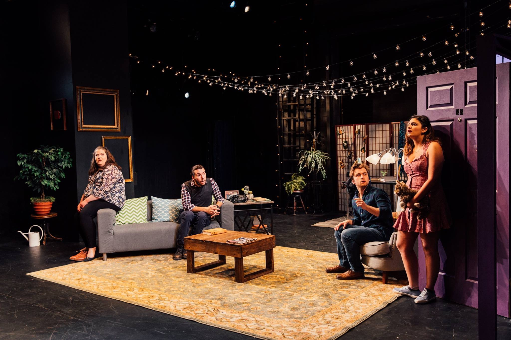 From left: Diane (Caroline Parker), Stanley, Evan (Cameron Bell), and Mirabelle (Cristina D'Anna). Spring 2019.
