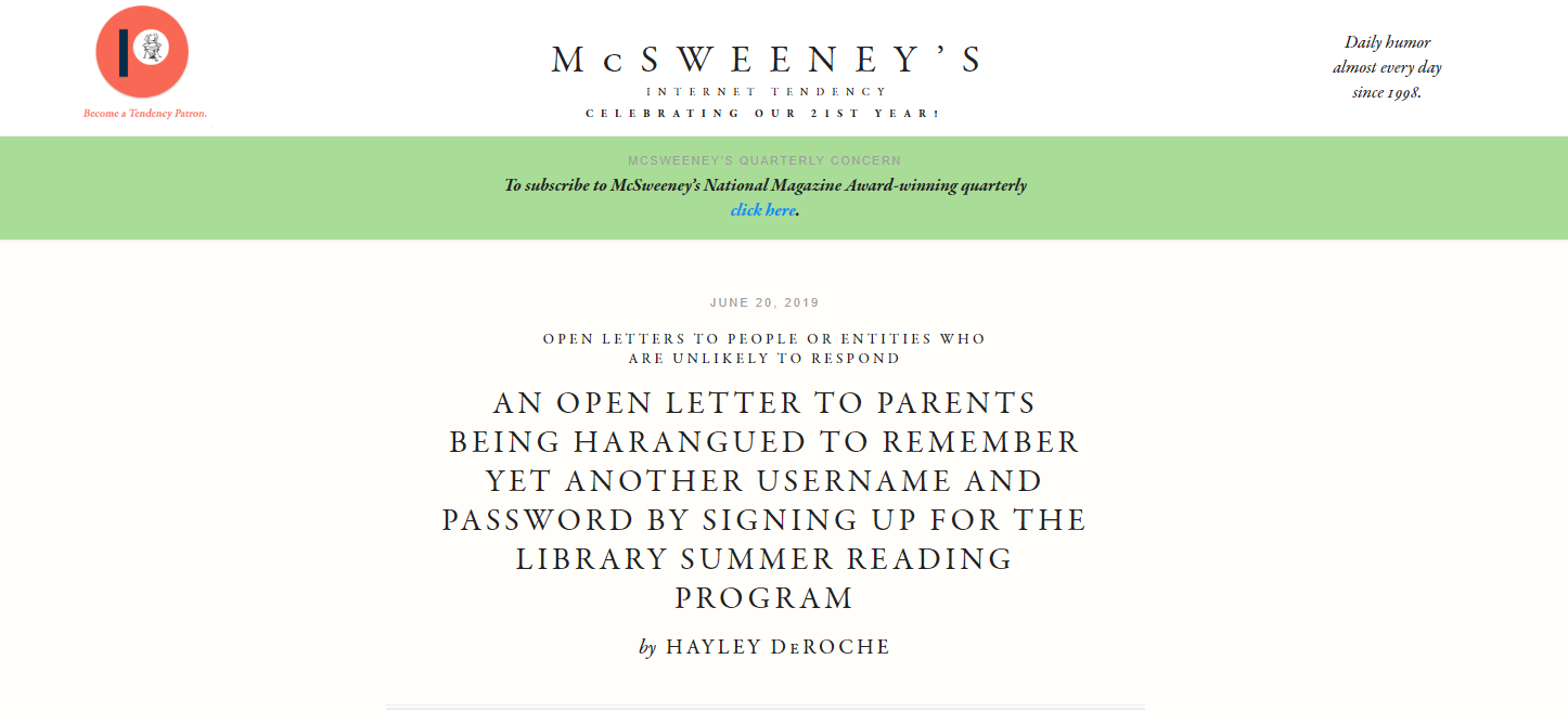 McSweeney's Internet Tendency - June 2019
