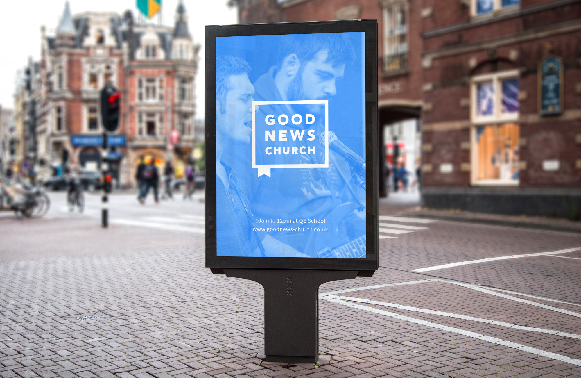 """<strong>Good News Church<br><font color=""""#bababa"""">Creating an approachable, yet professional brand identity.</font></strong>"""