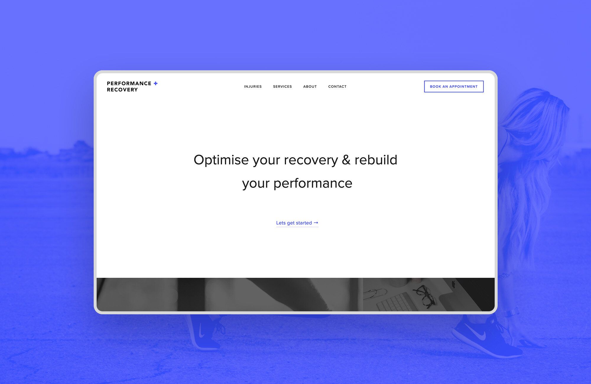 """<strong>Performance + Recovery<br><font color=""""#bababa"""">Bringing Physiotherapy online with a content led website design.</font></strong>"""