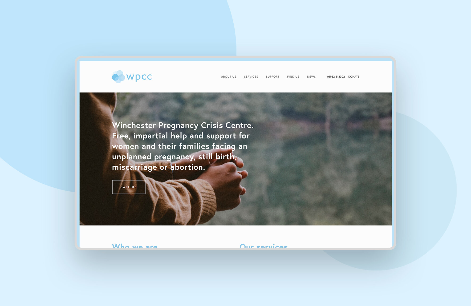 """<strong>Winchester Pregnancy Crisis Centre<br><font color=""""#bababa"""">Supporting a caring pregnancy advice centre with a new website design.</font></strong>"""
