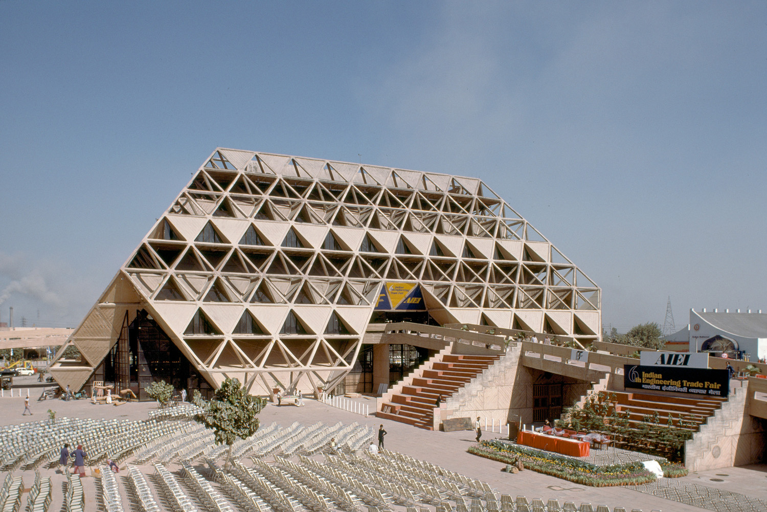 Pragati Maidan Hall of Nations - (1972, Raj Rewal)© MIT, photograph by Peter Serenyi.