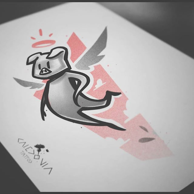 """""""The flying pig""""  For any tattoo enquiry, please contact me directly on my new website.  Link in the bio.  www.caledoniatattoo.com"""