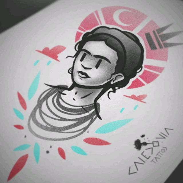 """""""Frida""""  New tattoo flash! Available in colour, or black and grey.  Tribute to the incredible Frida Kahlo.  For any tattoo enquiry, please contact me directly on my new website: www.caledoniatattoo.com  Link in bio."""