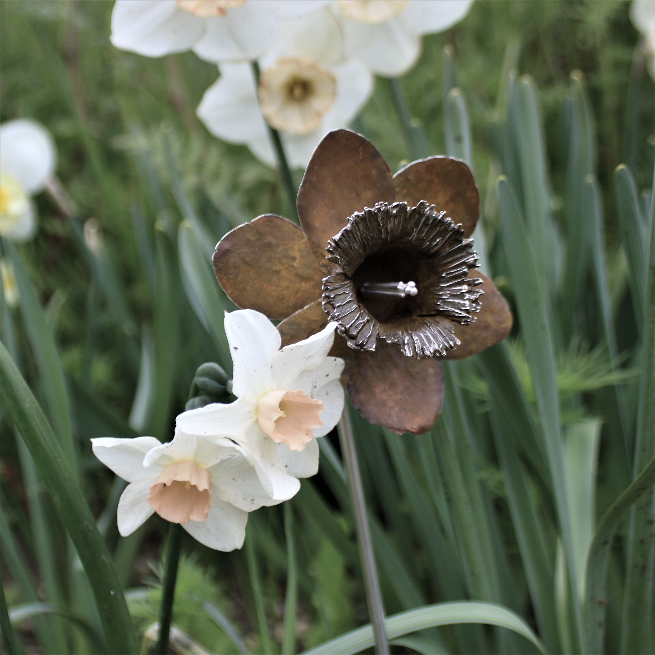 Yellow Patinated Silver Daffodil