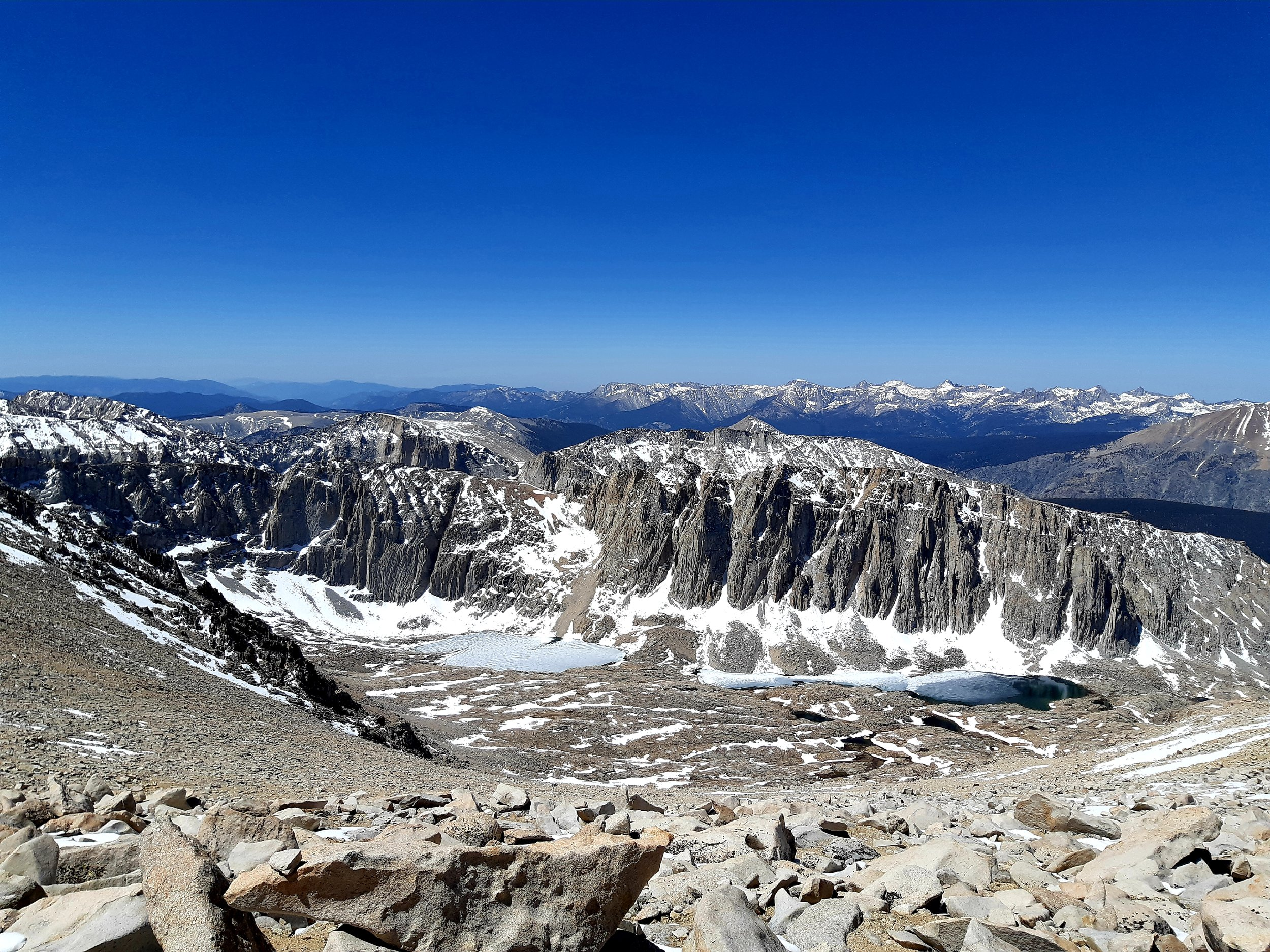 Summiting Mount Whitney @ 14,505 feet; the highest summit in the contiguous United States. CA.