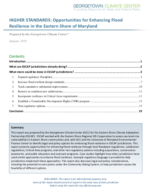 HIGHER STANDARDS: Opportunities for Enhancing Flood Resilience in the Eastern Shore of Maryland