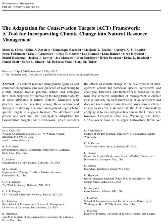 Cross et al. 2012 - The ACT Framework: A Tool for Incorporating Climate Change into Natural Resource Management