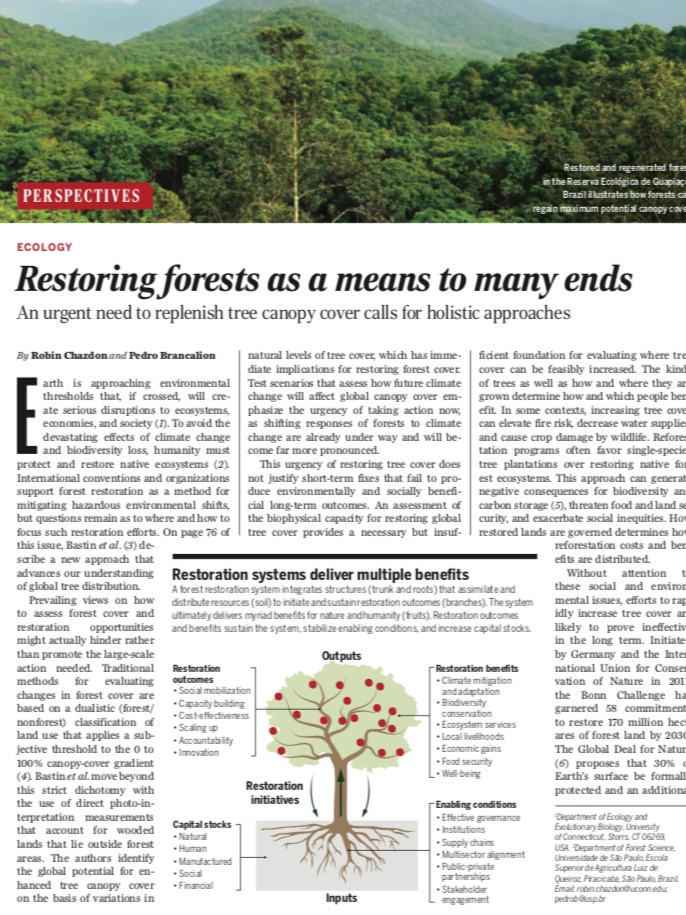Chazdon & Brancaolion 2019 - Restoring forests as a means to many ends