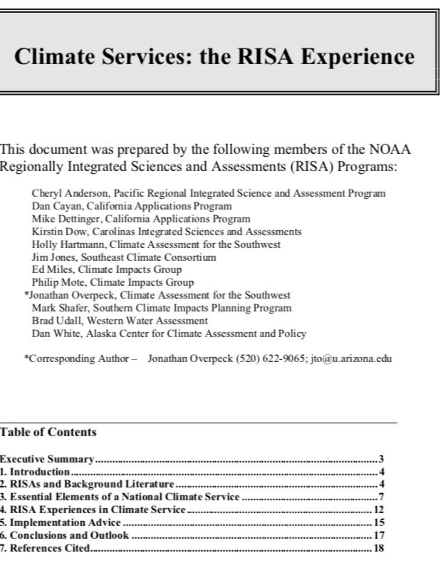 Miles et al. 2009 - Climate Services: the RISA Experience